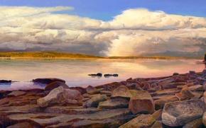Картинка облака, пейзаж, озеро, камни, картина