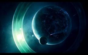 Картинка звезды, огни, планета, кольца, метеориты, спутники