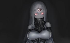 Картинка девушка, игра, арт, красные глаза, Anime, рог, Kantai Collection, Seaport Hime