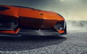 Картинка Lamborghini, Orange, Front, Vorsteiner, Sun, Sea, Supercar, Zaragoza, Aventador-V, LP740-4, Bumper