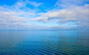 Картинка море, небо, облака, рябь, горизонт