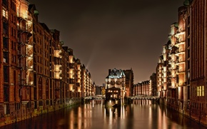 Картинка свет, ночь, мост, здания, дома, Германия, Гамбург, Germany, Speicherstadt, Hamburg