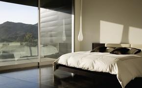 Картинка горы, дизайн, отражение, комната, кровать, интерьер, тень, подушки, окно, дурацкий светильник, красивый вид за окном