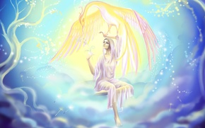 Картинка небо, девушка, облака, деревья, рука, огоньки, феникс, жар птица, Joya Filomena