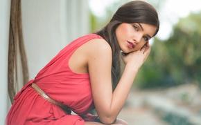 Картинка взгляд, красное платье, Iulia Gabriela Andron