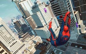 Картинка car, spider man, building, wallpaper, city, the amazing
