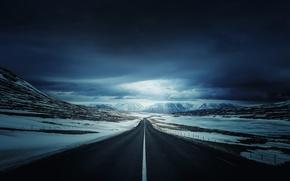 Обои дорога, природа, снег, Iceland's Ring Road, горы