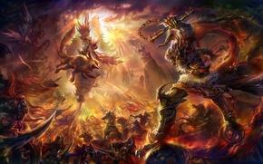 Картинка оружие, армия, существо, арт, битва, солнечные лучи, rongrong wang, rong rong