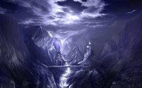 Обои горы, река, рисунок