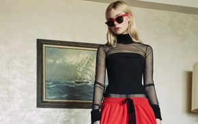 Картинка стена, модель, картина, актриса, очки, прическа, блондинка, наряд, фотосессия, 2015, Elle Fanning, Nylon, Эль Фаннинг, …