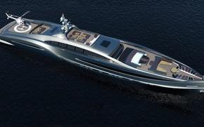 Картинка Helicopter, Yacht, Sea, High, Futuristic, Tecnology