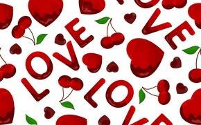 Картинка текстура, сердечки, texture, hearts, вишенки, LOVE, cherries