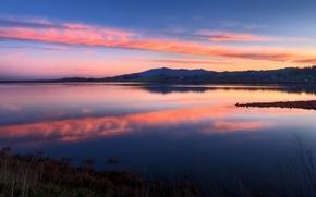 Картинка небо, закат, озеро