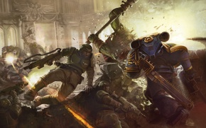 Картинка схватка, орки, космодесант, Warhammer 40k, имперская гвардия, ультрамарины