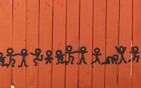 Обои забор, рисунок, танец, танцующие человечки, человечки