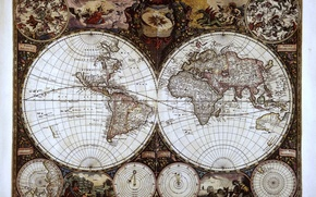 Картинка карта, monde wit, полушария