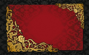 Картинка pattern, ретро, red, vintage, vector, golden, background, texture, dark, орнамент, узор, gradient, винтаж