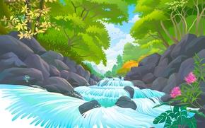 Обои цветы, река, камни