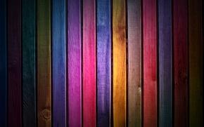 Обои цвета, радуга, дерево, краски, рейки