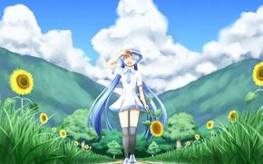 Картинка девушка, солнце, облака, деревья, радость, подсолнухи, природа, настроение, vocaloid, hatsune miku, вокалоид, art, nanatsuba