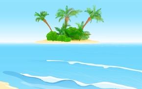 Обои пальмы, остров, island, shrubs, кусты, palms, sea, море, волны, waves
