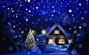 Картинка Новый Год, праздник, снег, природа, зима, дома, елочные, New Year, Christmas, ночь, елка, Рождество, пейзаж