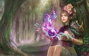 Картинка Huang DaHong, фея, магия, арт, девушка, лес