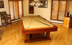 Обои стиль, комната, интерьер, стол, игра, квартира, дерево, деревянный, бильярд, шары, дизайн