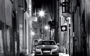 Обои ночь, Audi, улица, черно-белая, фонари