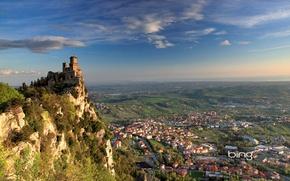 Картинка панорама, San Marino, Сан-Марино, Башня Гуаита, Borgo Maggiore, гора Монте-Титано, Guaita tower, Борго-Маджоре, Monte Titano