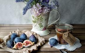 Картинка цветы, еда, кувшин, натюрморт, джем, инжир