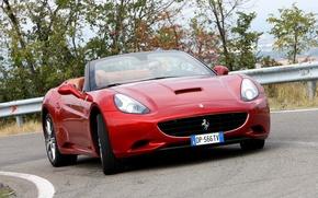 Картинка дорога, машина, фары, red, передок, Ferrari California