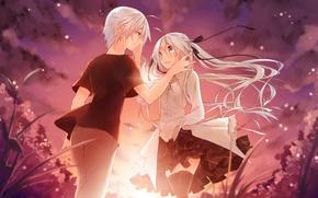 Обои улыбка, рассвет, платье, пара, Аниме, белые волосы, kasugano sora, Yosuga no Sora, Kasugano Haruka