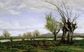 Обои картина, Aureliano de Beruete y Moret, Берег реки Мансанарес, корова, дерево, пастух, река, осень, пейзаж