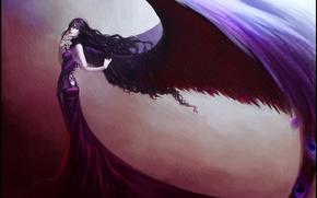 Обои перья, девушка, крылья, платье