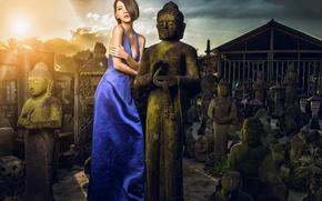Картинка девушка, платье, азиатка, статуи