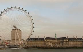 Обои Англия, Лондон, Вода, Дома, Фото, Город, Река, Колесо, Берег, Здания, Темза, London, Лондонский глаз, London ...