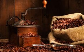 Картинка coffee, bag, grinder, coffee beans