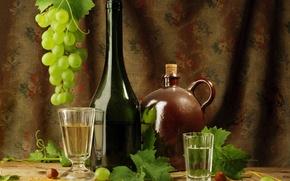 Картинка листья, стакан, вино, бутылка, виноград, водка, рюмка