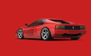 Обои ferrari, 512 tr, testarossa, red, supercar