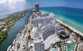 Картинка море, небо, берег, дома, кран, Флорида, США, Miami