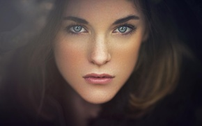 Картинка взгляд, брюнетка, девушка. портрет