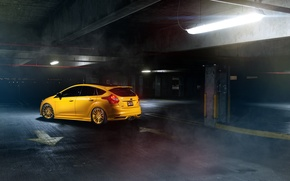 Картинка Ford, фокус, парковка, Focus, форд, yellow, rearside