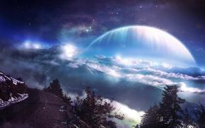 Картинка дорога, лес, звезды, облака, горы, Планета