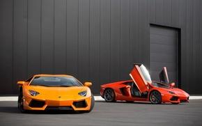 Картинка оранжевый, красный, red, lamborghini, orange, aventador, lp700-4, ламборгини, авентадор
