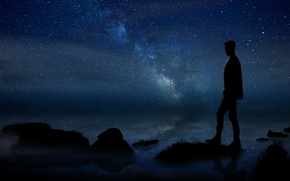 Картинка summer, white, grass, black, sea, blue, land, stars, man, stones, milky way, silhouette, laneynest