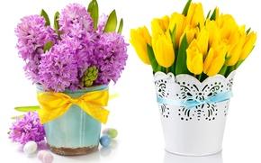 Картинка яйца, букет, тюльпаны, flowers, tulips, spring, easter, гиацинты, lilac