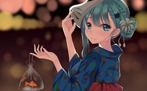 Картинка девушка, улыбка, рыбка, аниме, маска, арт, кимоно, suzuya, kantai collection