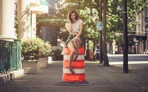 Картинка девушка, юбка, блузка, girl, шатенка, ножки, model, Claudia Bakehouse