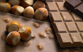 Обои сладости, настроения, орешки, шоколад